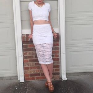 Express White Crop Top & Pencil Skirt Set